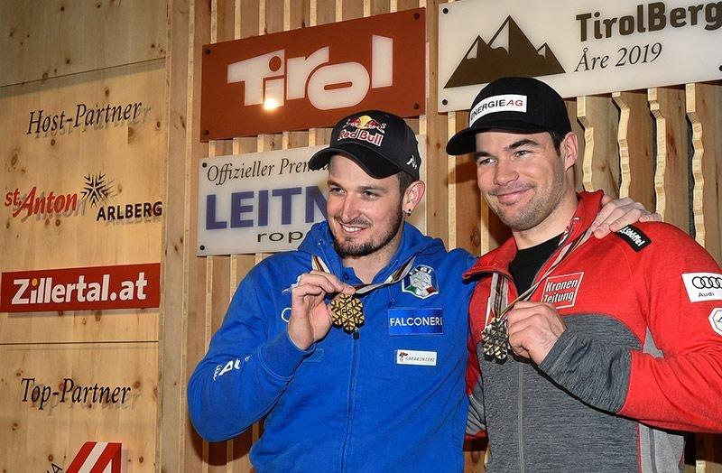 Gold und Silber im TirolBerg: Super-G-Weltmeister Dominik Paris (l.) und der zweitplatzierte Vincent Kriechmayr