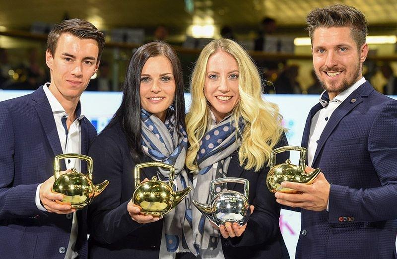"""Hirscher, Veith und Kraft sind die Sieger der Goldenen Teekanne 2018. Theresa Stadlober freut sich mit ihrem neuen Titel """"Newcomer of the Year""""."""