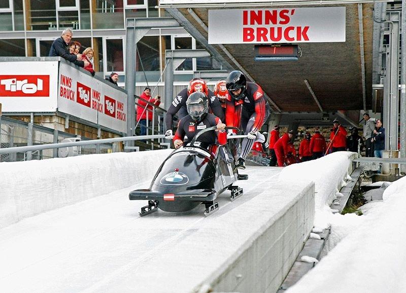 Das Bob Team Geiger bei der Österreichischen Meisterschaft in Igls im Dezember 2018