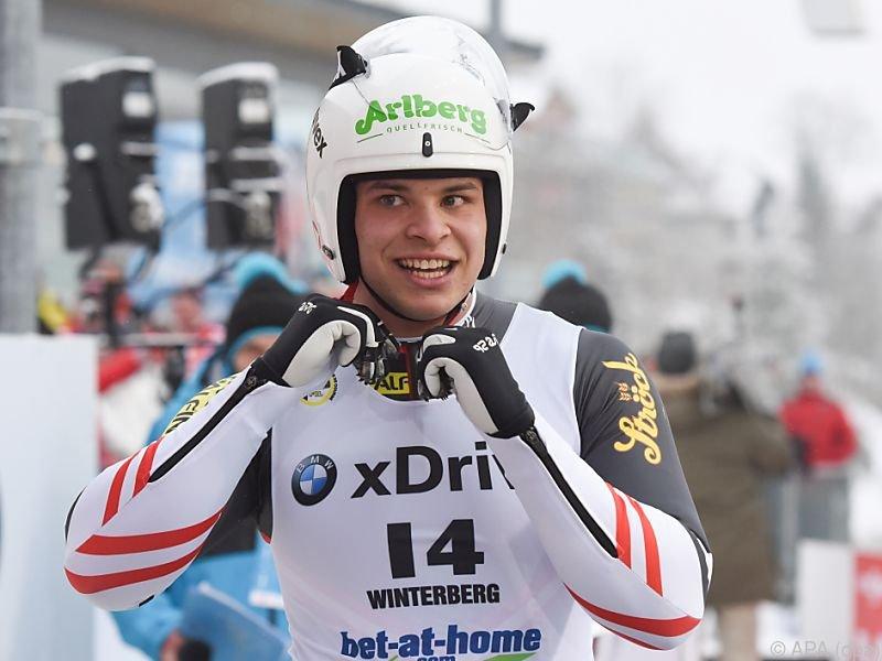 Sensationssieg von Jonas Müller (AUT) bei Rodel-WM in Winterberg