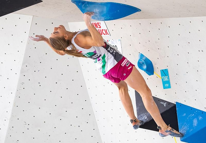 Katharina Saurwein (AUT) während der Boulder Qualifikation IFSC Climbing World Championships 2018 in Innsbruck