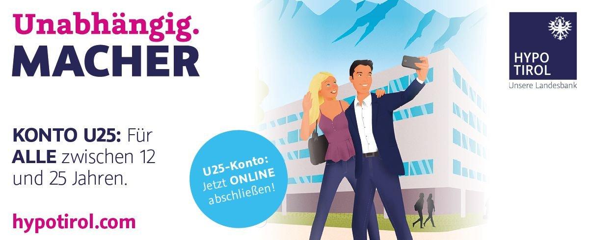 HYPO Tirol U25: Das Konto für Alle zwischen 12 und 25 Jahren