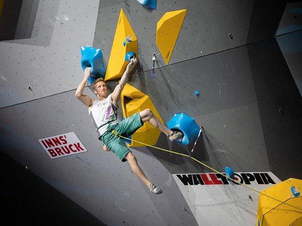 Jakob Schubert im Halbfinale Verstieg der IFSC Climbing World Championships in Innsbruck