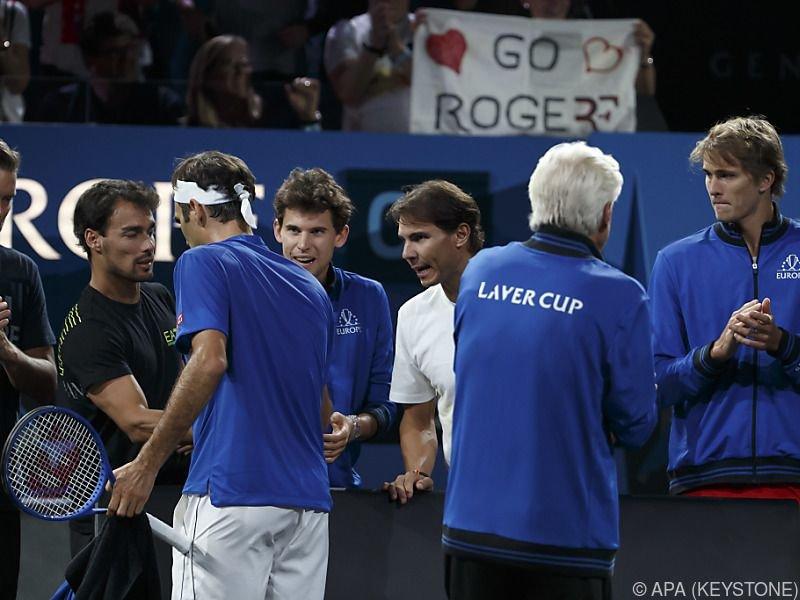 Federer mit Teamkollegen Fognini, Thiem, Nadal und Zverev