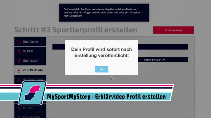 MySportMyStory - Erklärvideo Profil erstellen